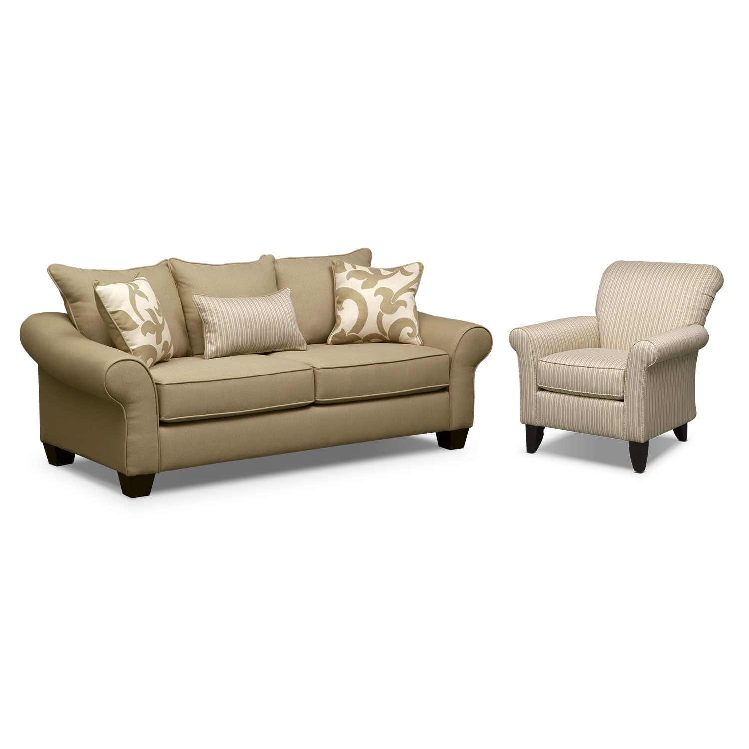 Colette Full Memory Foam Sleeper Sofa And Accent Chair Set Khaki American Signature Furniture