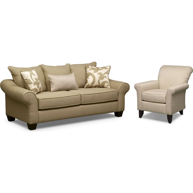 Living Room Furniture - Colette Sofa and Accent Chair Set - Khaki