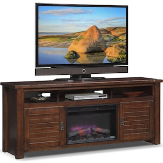 "Prairie 74"" Fireplace TV Stand with Traditional Insert - Mesquite Pine"