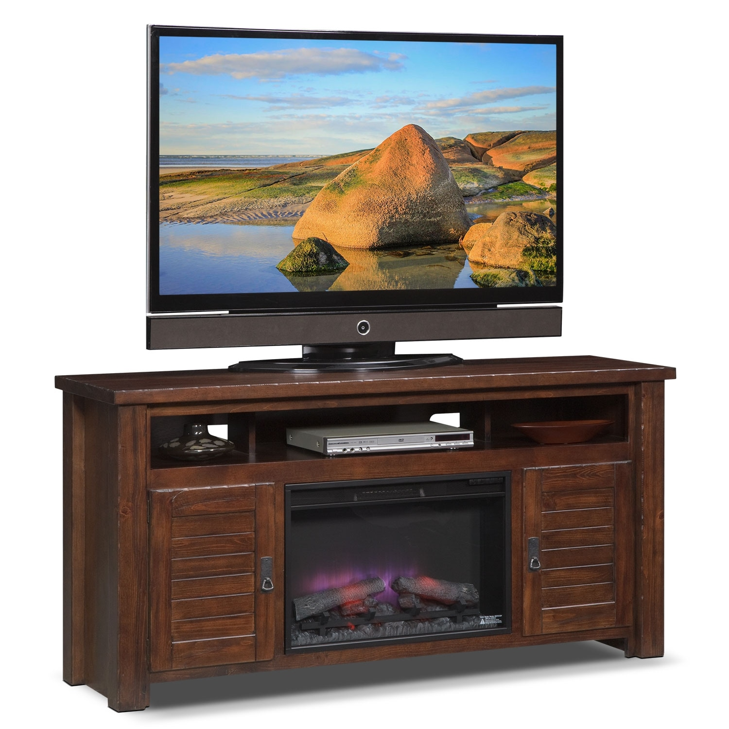 "Entertainment Furniture - Prairie 64"" Fireplace TV Stand with Traditional Insert - Mesquite Pine"