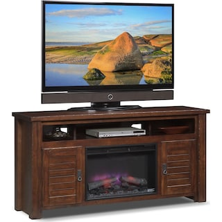 "Prairie 64"" Fireplace TV Stand with Traditional Insert - Mesquite Pine"
