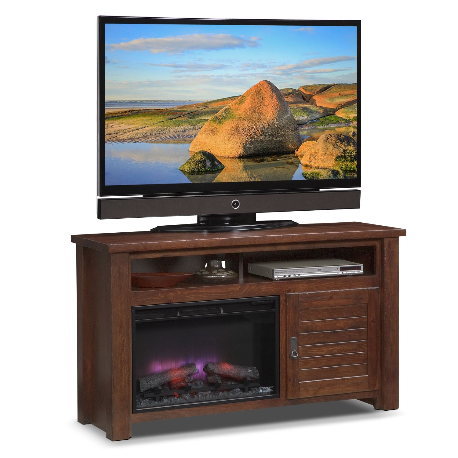 "Entertainment Furniture - Prairie 54"" Fireplace TV Stand with Traditional Insert - Mesquite Pine"