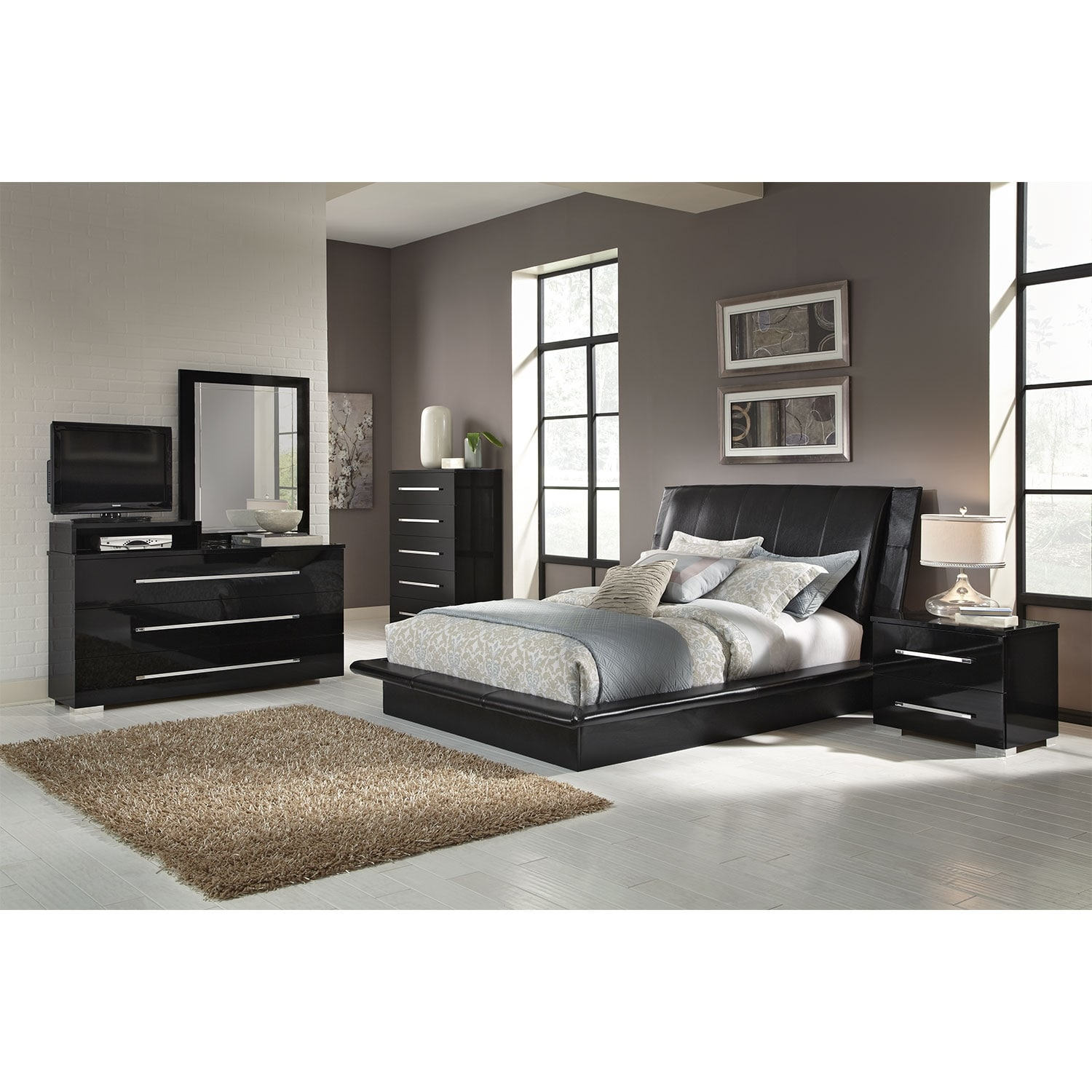 Dimora 7 Piece King Upholstered Bedroom Set With Media Dresser Black Amer