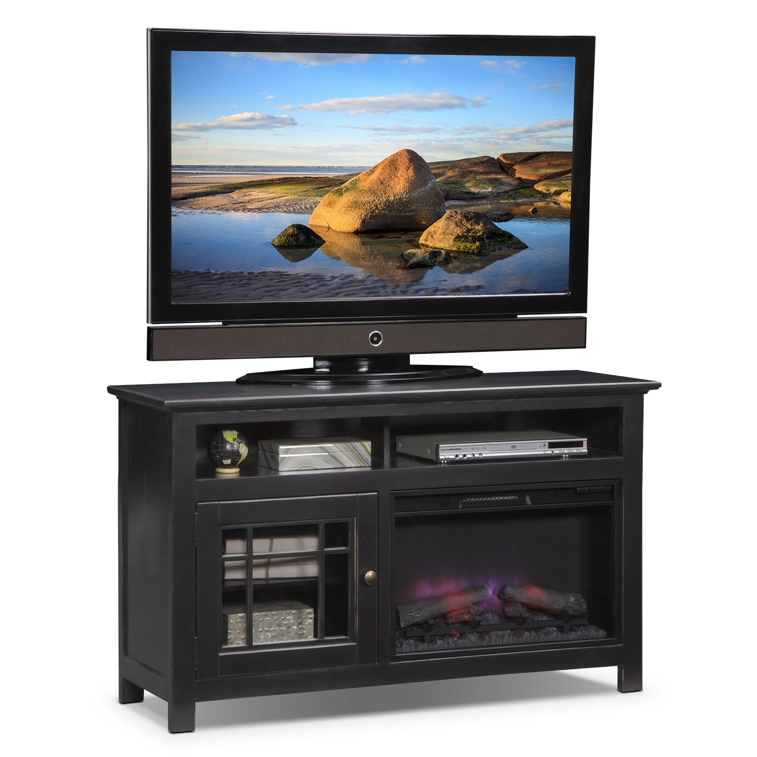 "Entertainment Furniture - Merrick Black 54"" Fireplace TV Stand with Traditional Insert"