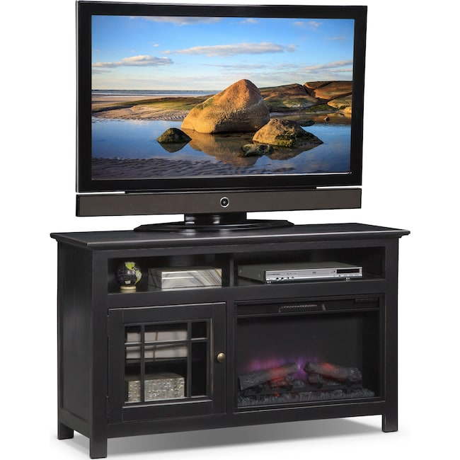 "Entertainment Furniture - Merrick 54"" Fireplace TV Stand with Traditional Insert - Black"