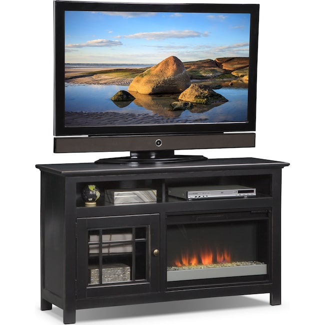 """Entertainment Furniture - Merrick 54"""" Fireplace TV Stand with Contemporary Insert - Black"""