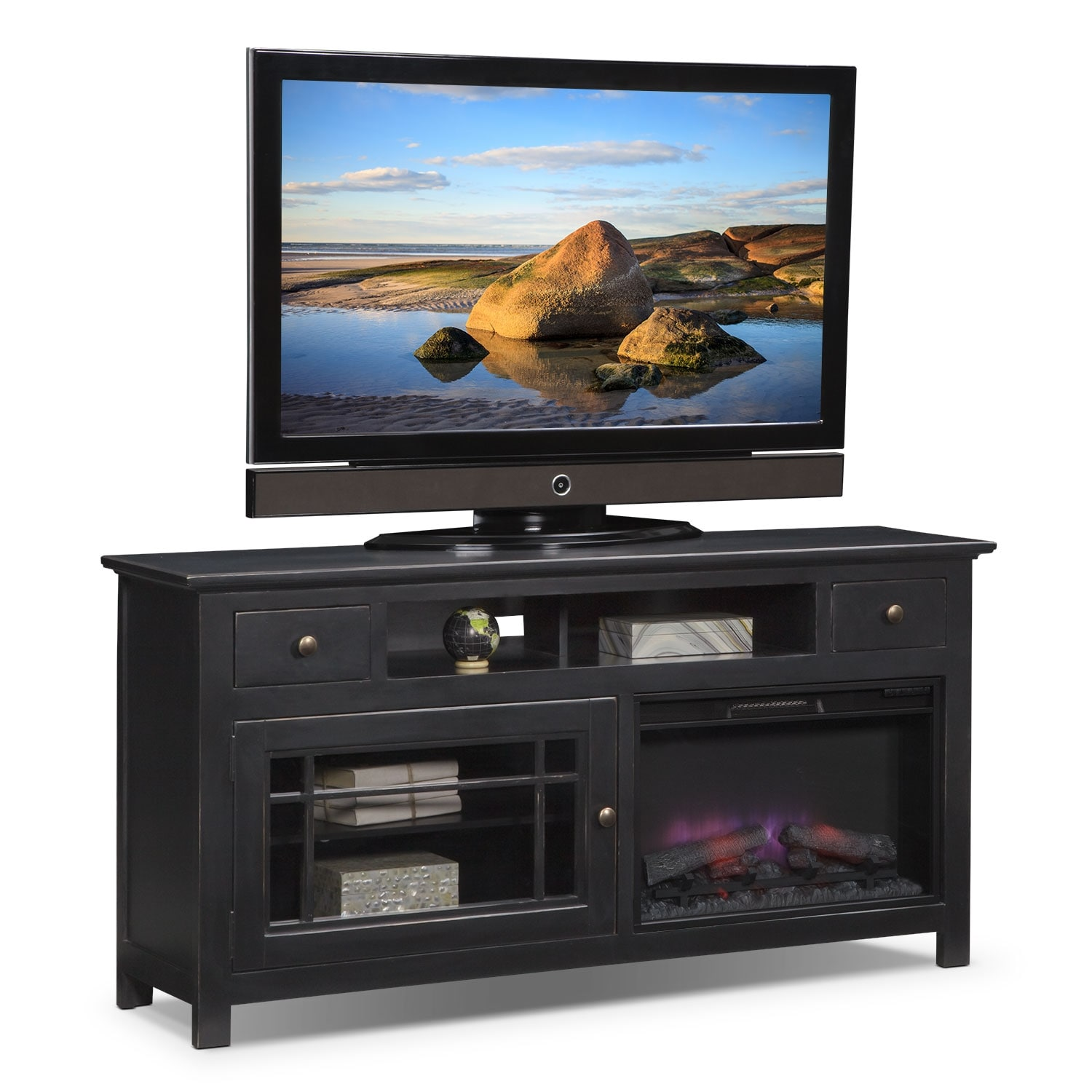 "Merrick 64"" Fireplace TV Stand with Traditional Insert - Black"