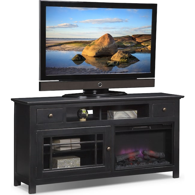 "Entertainment Furniture - Merrick 64"" Fireplace TV Stand with Traditional Insert - Black"