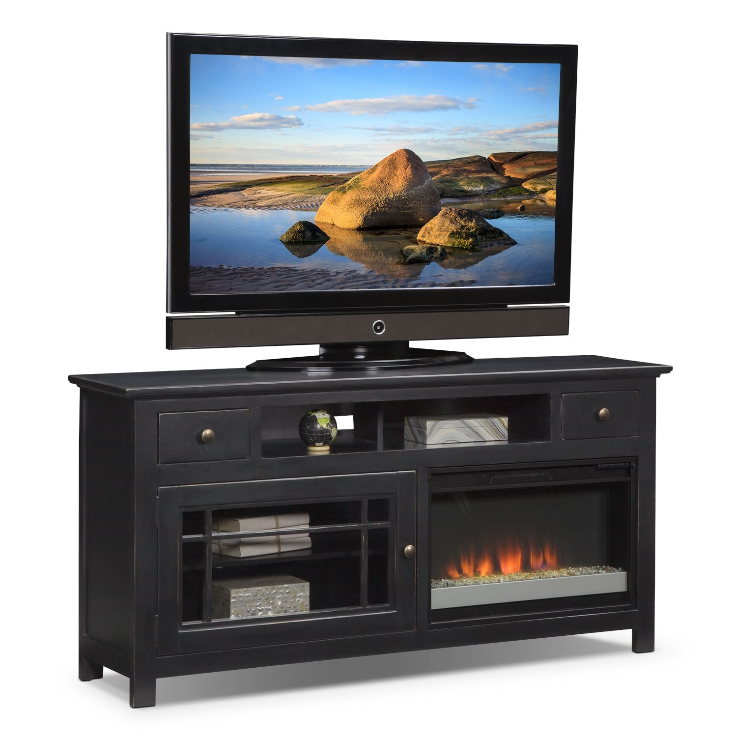 "Entertainment Furniture - Merrick 64"" Fireplace TV Stand with Contemporary Insert - Black"