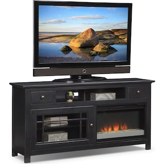 "Merrick 64"" Fireplace TV Stand with Contemporary Insert - Black"