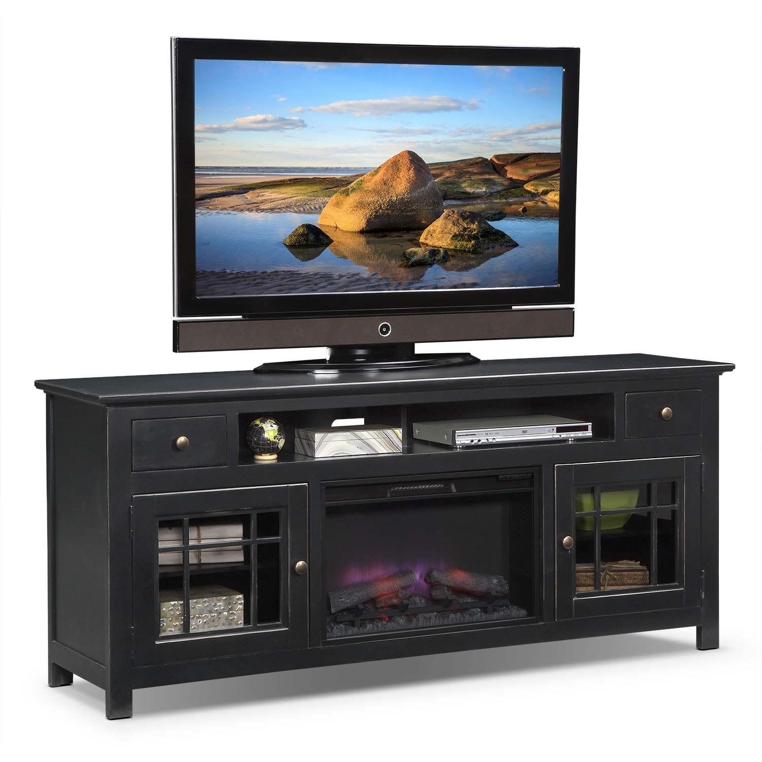 "Entertainment Furniture - Merrick Black 74"" Fireplace TV Stand with Traditional Insert"