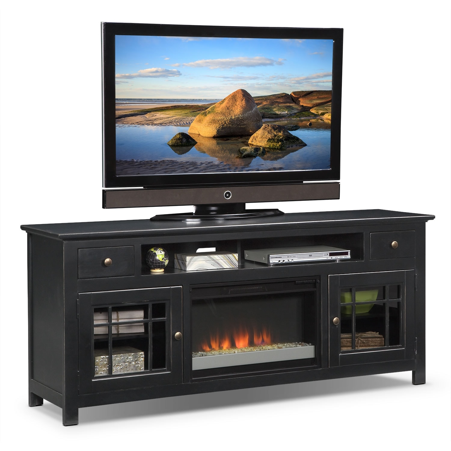 "Merrick 74"" Fireplace TV Stand with Contemporary Insert - Black"