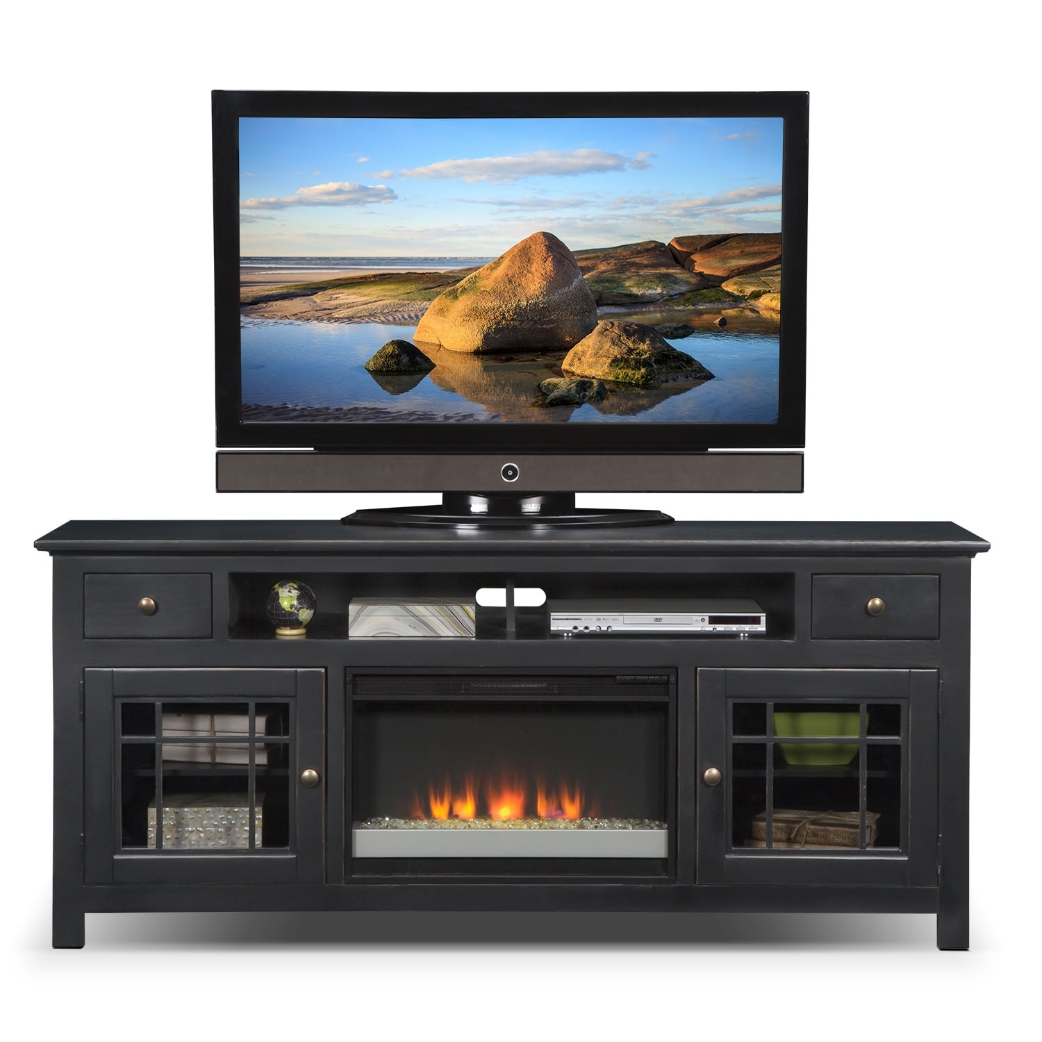 merrick 74 fireplace tv stand with contemporary insert black american signature furniture. Black Bedroom Furniture Sets. Home Design Ideas
