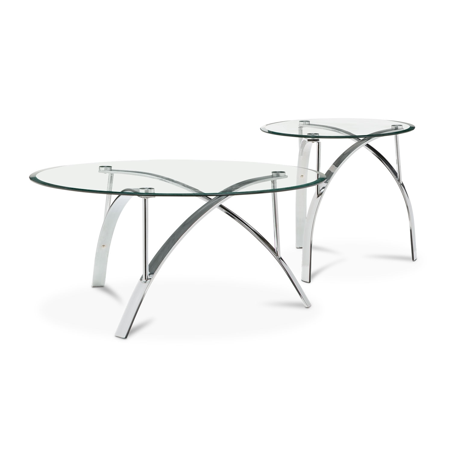 Mako Cocktail Table and End Table Silver