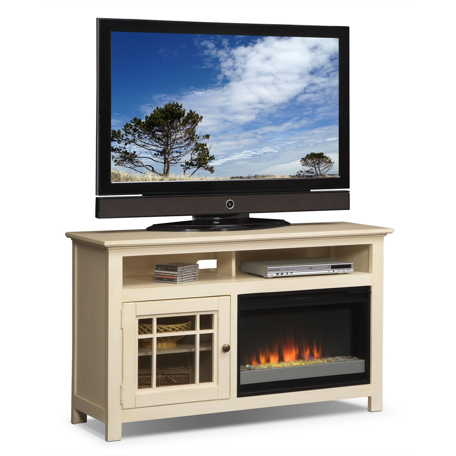 """Entertainment Furniture - Merrick White 54"""" Fireplace TV Stand with Contemporary Insert"""