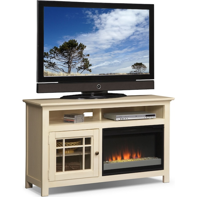 "Entertainment Furniture - Merrick 54"" Fireplace TV Stand with Contemporary Insert - White"