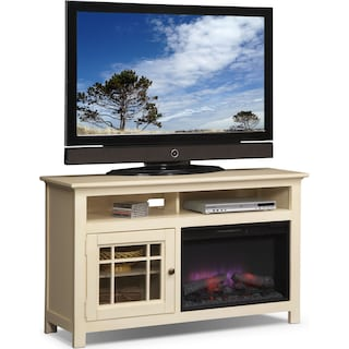 "Merrick 54"" Fireplace TV Stand with Traditional Insert - White"