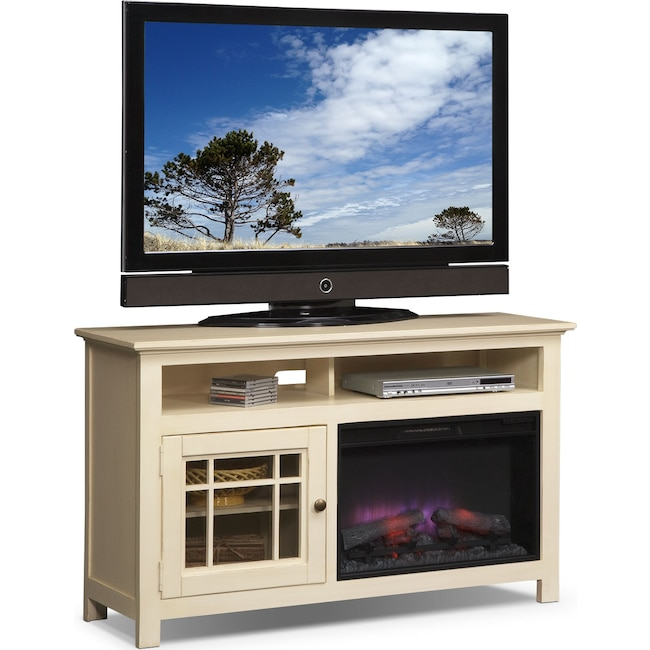 "Entertainment Furniture - Merrick 54"" Fireplace TV Stand with Traditional Insert - White"