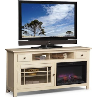 "Merrick 64"" Fireplace TV Stand with Traditional Insert - White"
