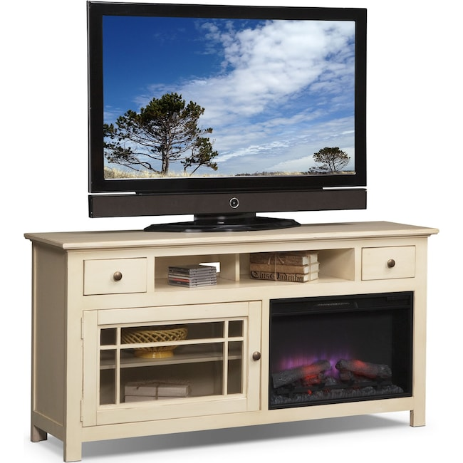"""Entertainment Furniture - Merrick 64"""" Fireplace TV Stand with Traditional Insert - White"""