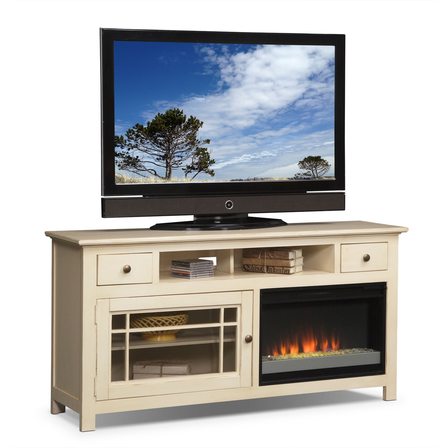 "Entertainment Furniture - Merrick 64"" Fireplace TV Stand with Contemporary Insert - White"