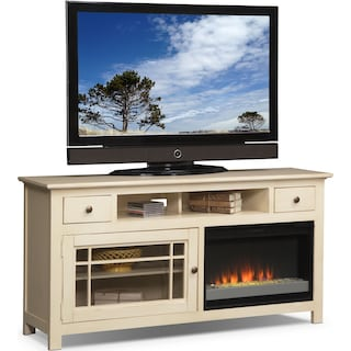 "Merrick 64"" Fireplace TV Stand with Contemporary Insert - White"