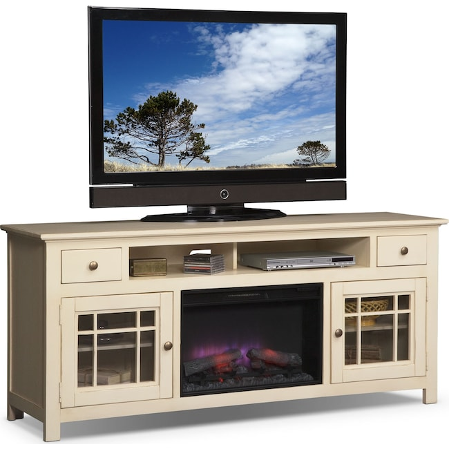 "Entertainment Furniture - Merrick 74"" Fireplace TV Stand with Traditional Insert - White"