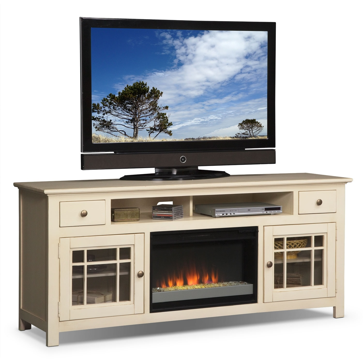 """Entertainment Furniture - Merrick 74"""" Fireplace TV Stand with Contemporary Insert - White"""