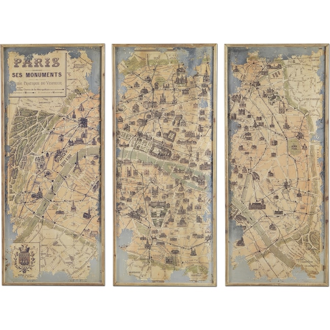 Home Accessories - Paris 3 Pc. Framed Print
