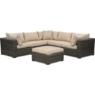 Regatta 5-Piece Outdoor Sectional and Ottoman Set - Brown