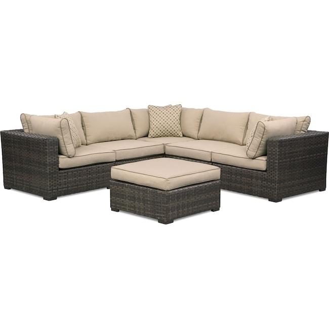 Outdoor Furniture - Regatta 5-Piece Outdoor Sectional and Ottoman Set - Brown