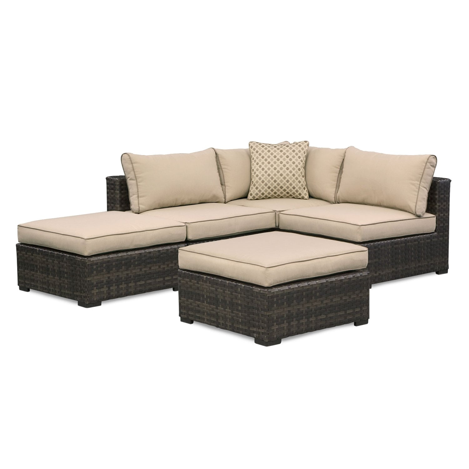 Regatta 3 Pc. Outdoor Sectional and 2 Ottomans