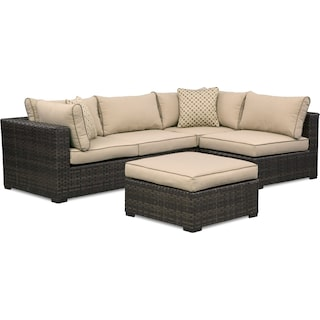 Regatta 4-Piece Outdoor Sectional and Ottoman Set - Brown