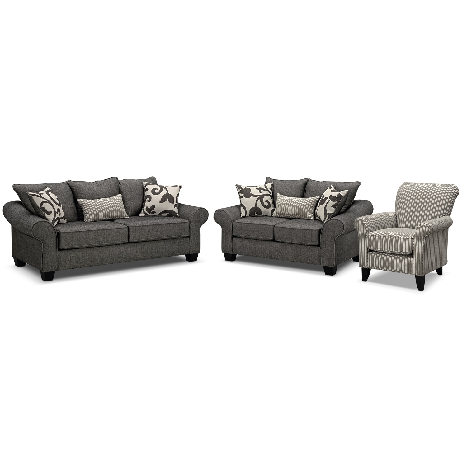 Living Room Furniture - Colette Full Innerspring Sleeper Sofa, Loveseat and Accent Chair Set - Gray