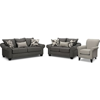 Colette Full Innerspring Sleeper Sofa, Loveseat and Accent Chair Set - Gray