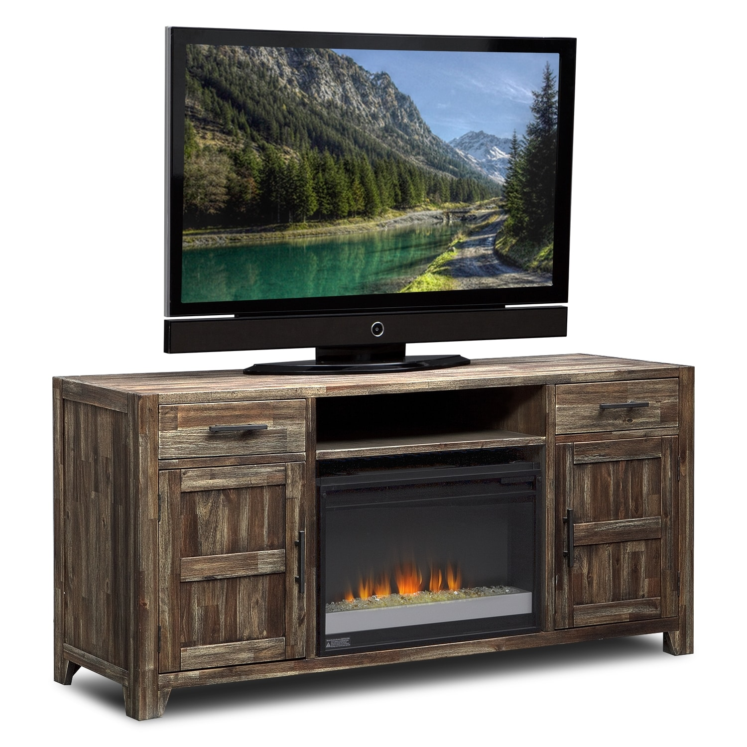 Entertainment Furniture - Brentwood Fireplace TV Stand with Contemporary Insert - Medium Brown