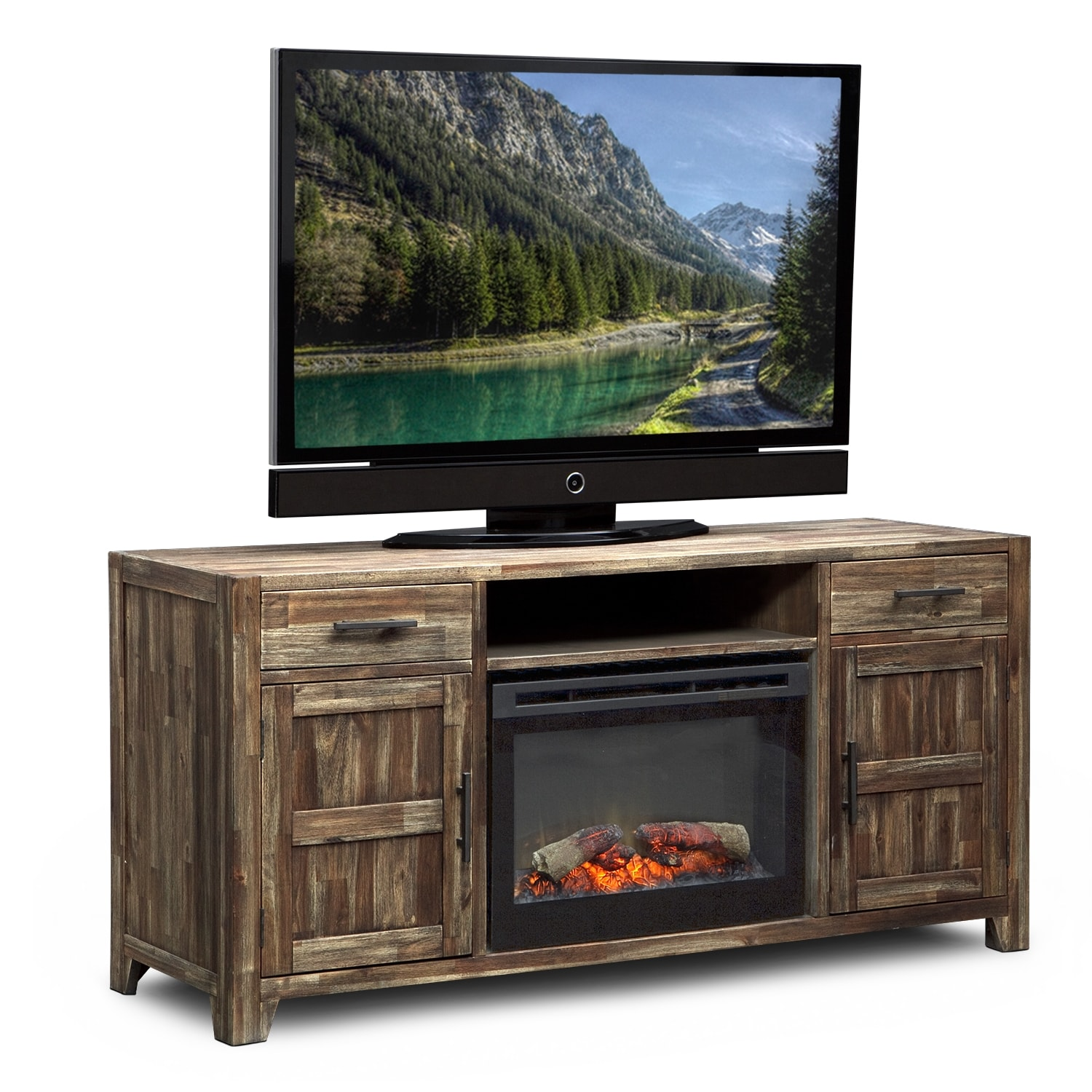 Entertainment Furniture - Brentwood Fireplace TV Stand in Traditional Insert - Medium Brown