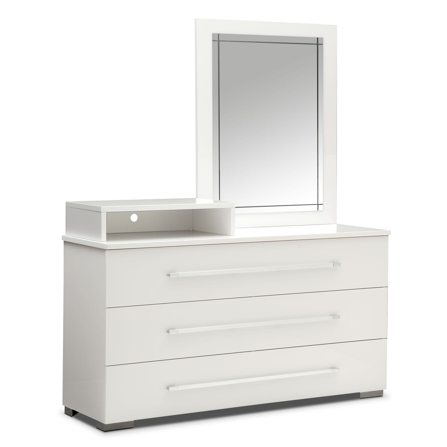 Dimora Media Dresser and Mirror - White