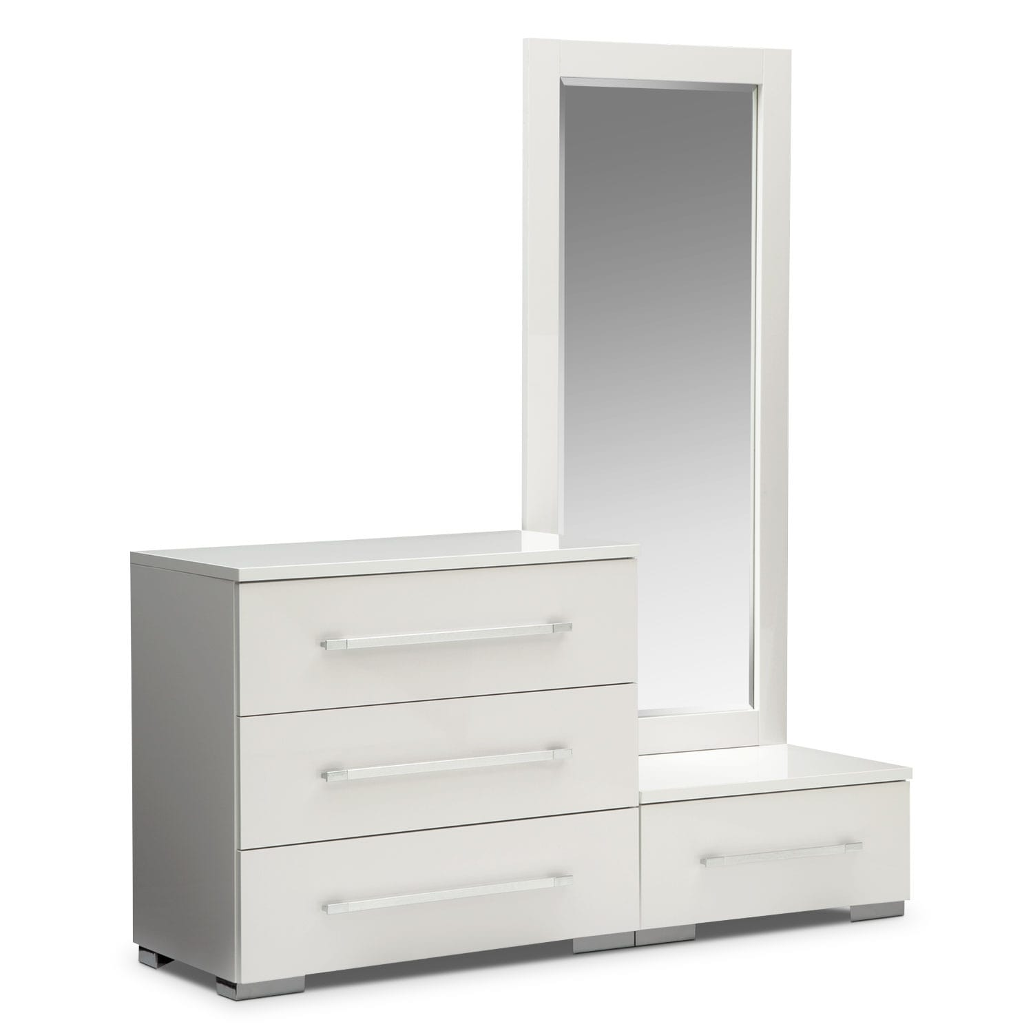 Dimora White Dressing Dresser & Dressing Mirror with Step