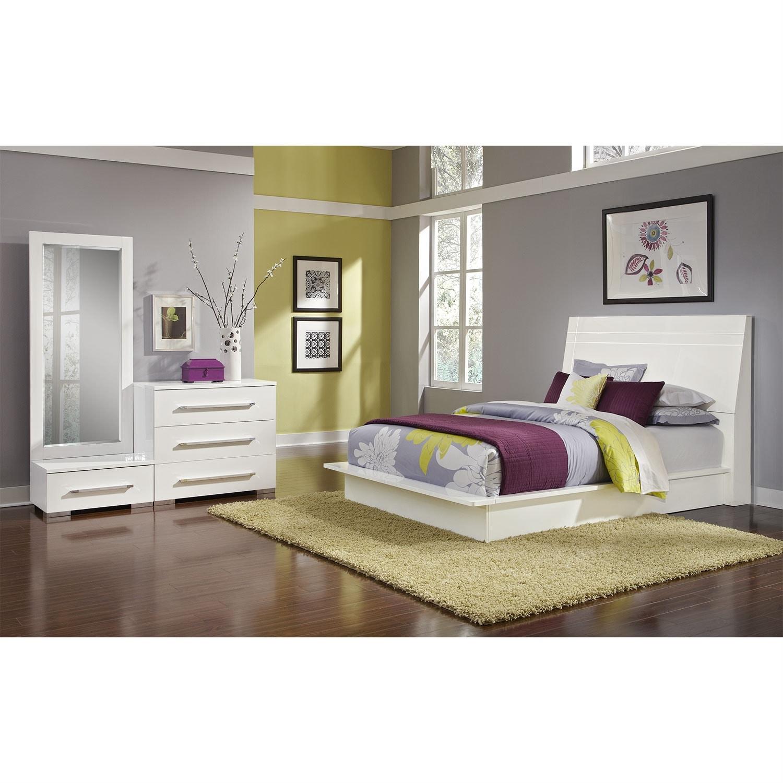 Bedroom Furniture - Dimora 5-Piece Queen Panel Bedroom Set - White