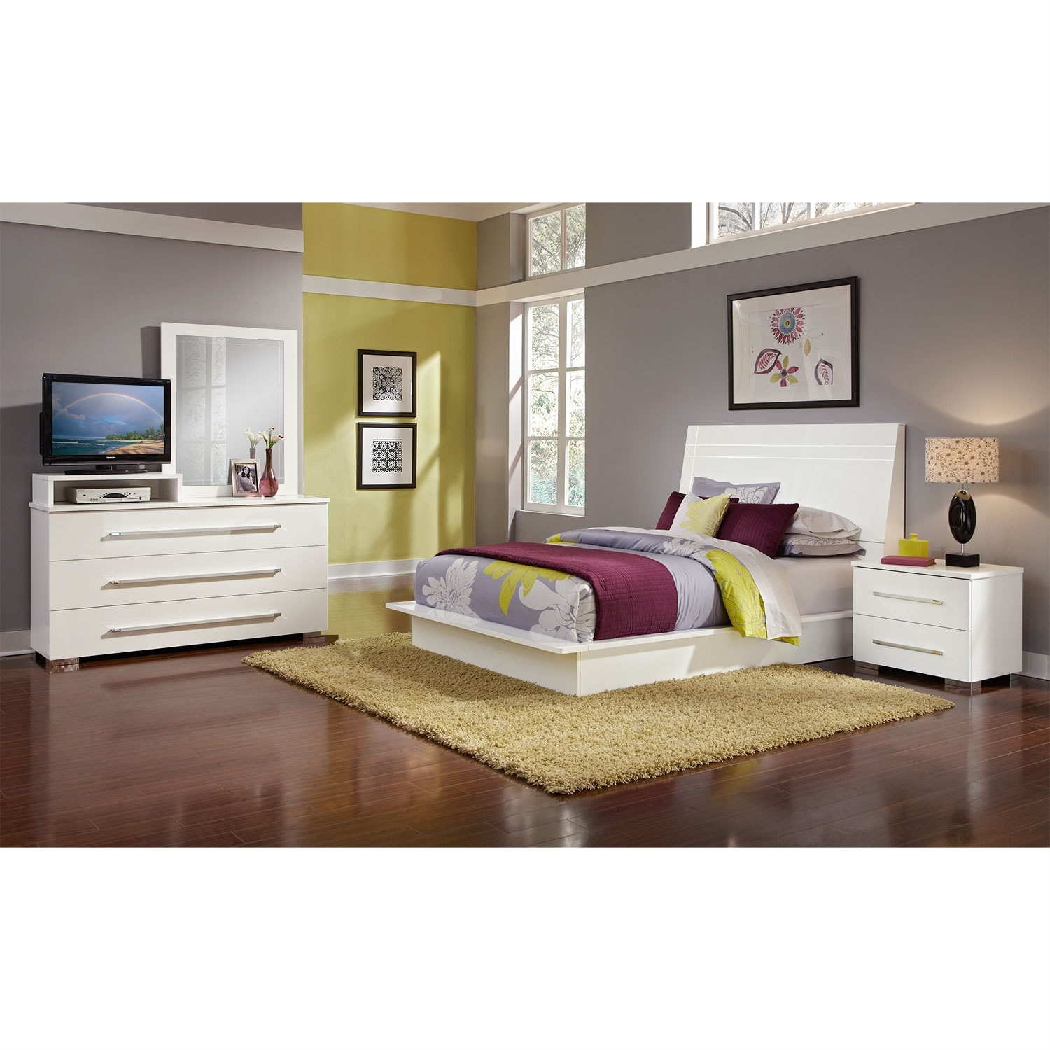 Dimora 6 piece queen panel bedroom set with media dresser for Bedroom 6 piece set