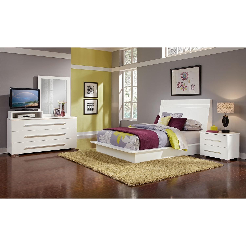 Dimora 6 piece queen panel bedroom set with media dresser for American signature bedroom furniture