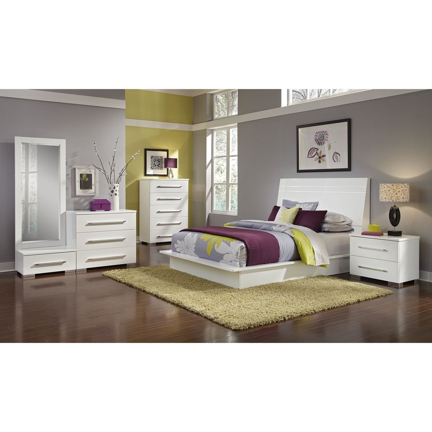 Bedroom Furniture - Dimora 7-Piece Queen Panel Bedroom Set - White