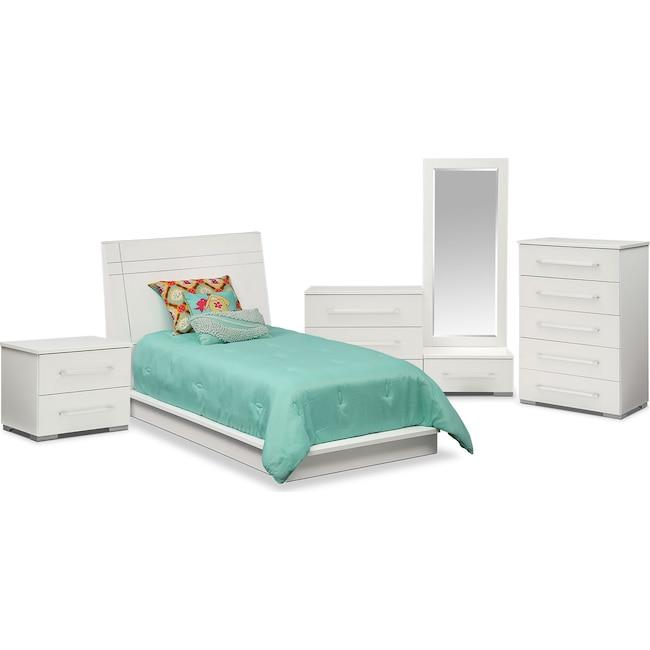 Bedroom Furniture - Dimora 7-Piece Twin Panel Bedroom Set - White