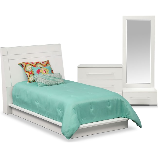 Bedroom Furniture - Dimora 5-Piece Twin Panel Bedroom Set - White