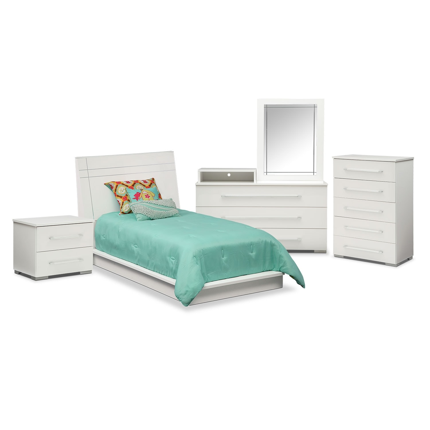 Dimora 7-Piece Twin Panel Bedroom Set with Media Dresser - White