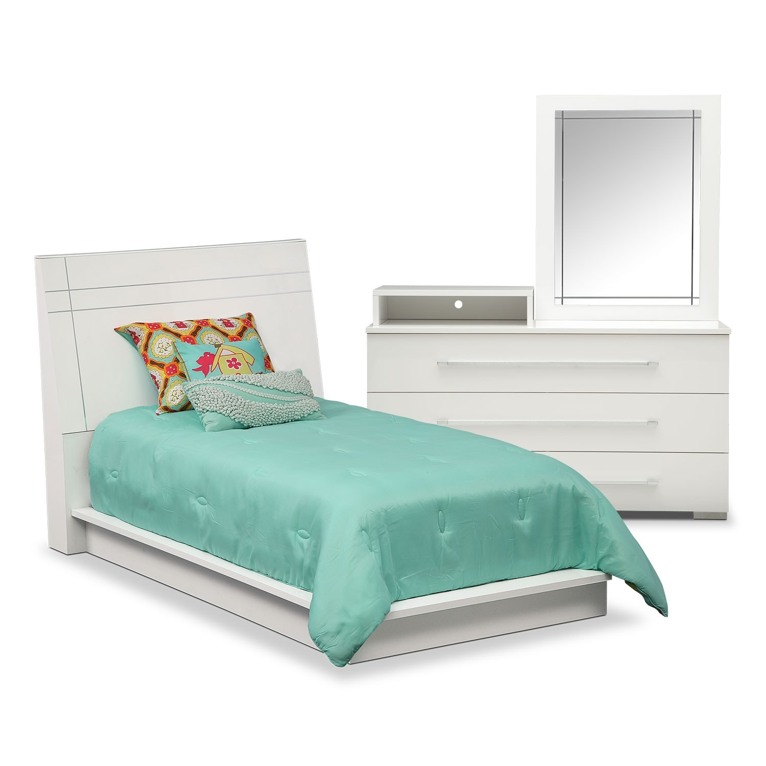 Bedroom Furniture - Dimora 5-Piece Twin Panel Bedroom Set with Media Dresser - White