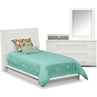 Dimora 5-Piece Twin Panel Bedroom Set with Media Dresser - White