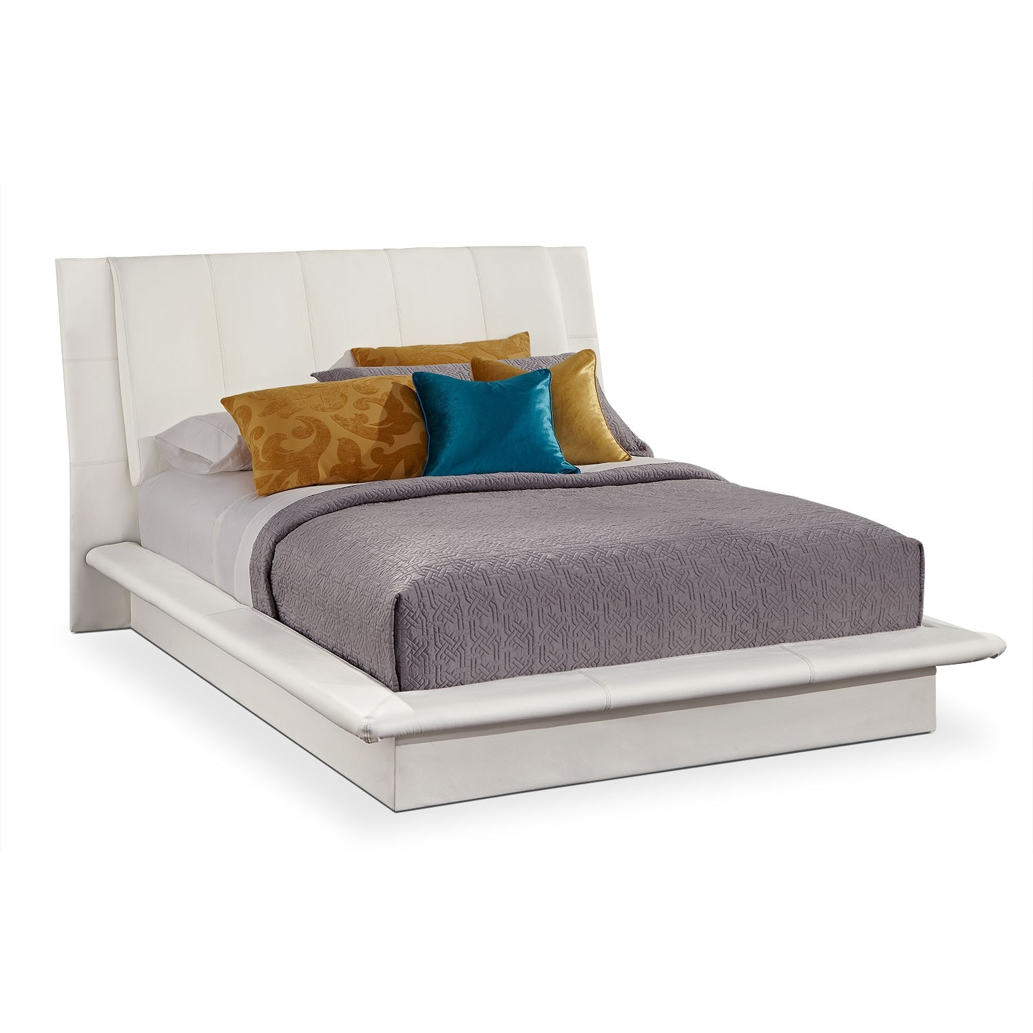 Dimora king upholstered bed white american signature for Signature bedroom furniture