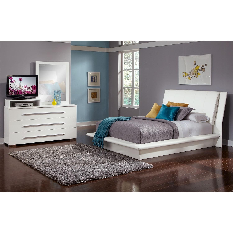dimora 5 piece queen upholstered bedroom set with media
